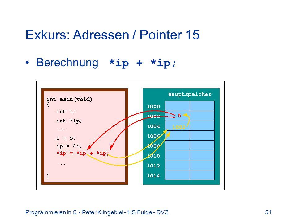 Programmieren in C - Peter Klingebiel - HS Fulda - DVZ51 Exkurs: Adressen / Pointer 15 Berechnung *ip + *ip;
