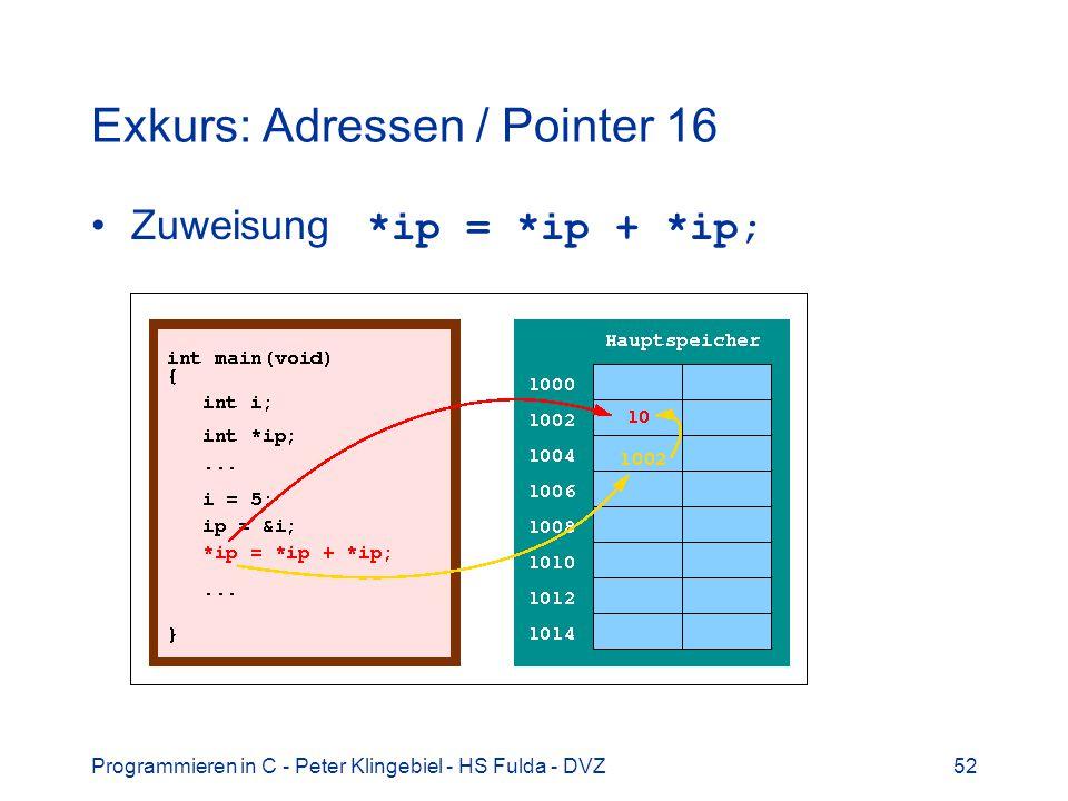 Programmieren in C - Peter Klingebiel - HS Fulda - DVZ52 Exkurs: Adressen / Pointer 16 Zuweisung *ip = *ip + *ip;