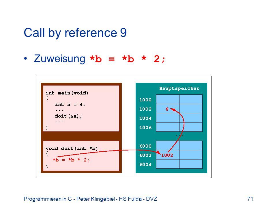 Programmieren in C - Peter Klingebiel - HS Fulda - DVZ71 Call by reference 9 Zuweisung *b = *b * 2;