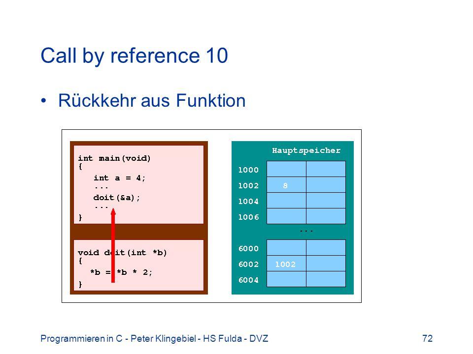 Programmieren in C - Peter Klingebiel - HS Fulda - DVZ72 Call by reference 10 Rückkehr aus Funktion