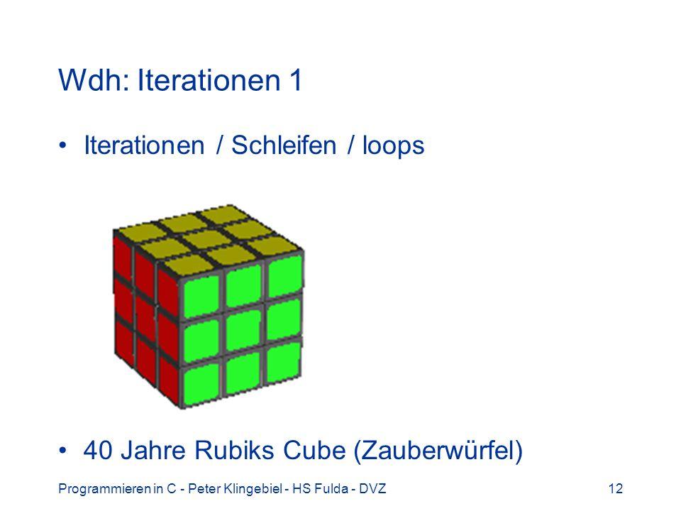 Programmieren in C - Peter Klingebiel - HS Fulda - DVZ12 Wdh: Iterationen 1 Iterationen / Schleifen / loops 40 Jahre Rubiks Cube (Zauberwürfel)