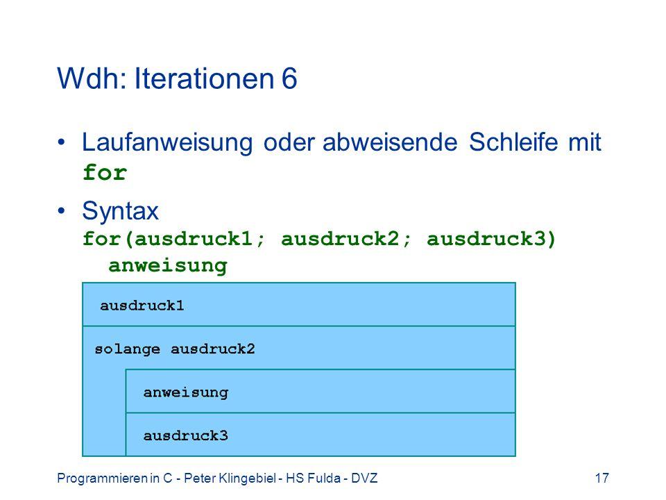 Programmieren in C - Peter Klingebiel - HS Fulda - DVZ17 Wdh: Iterationen 6 Laufanweisung oder abweisende Schleife mit for Syntax for(ausdruck1; ausdr