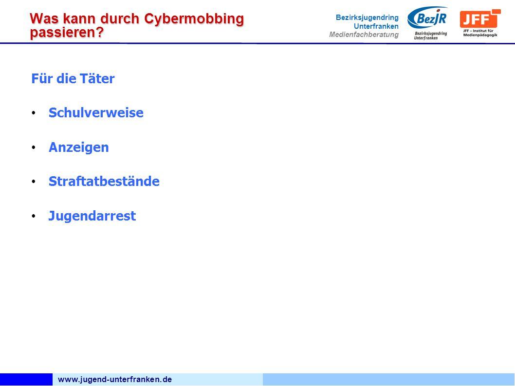 www.jugend-unterfranken.de Bezirksjugendring Unterfranken Medienfachberatung Was kann durch Cybermobbing passieren? Für die Täter Schulverweise Anzeig