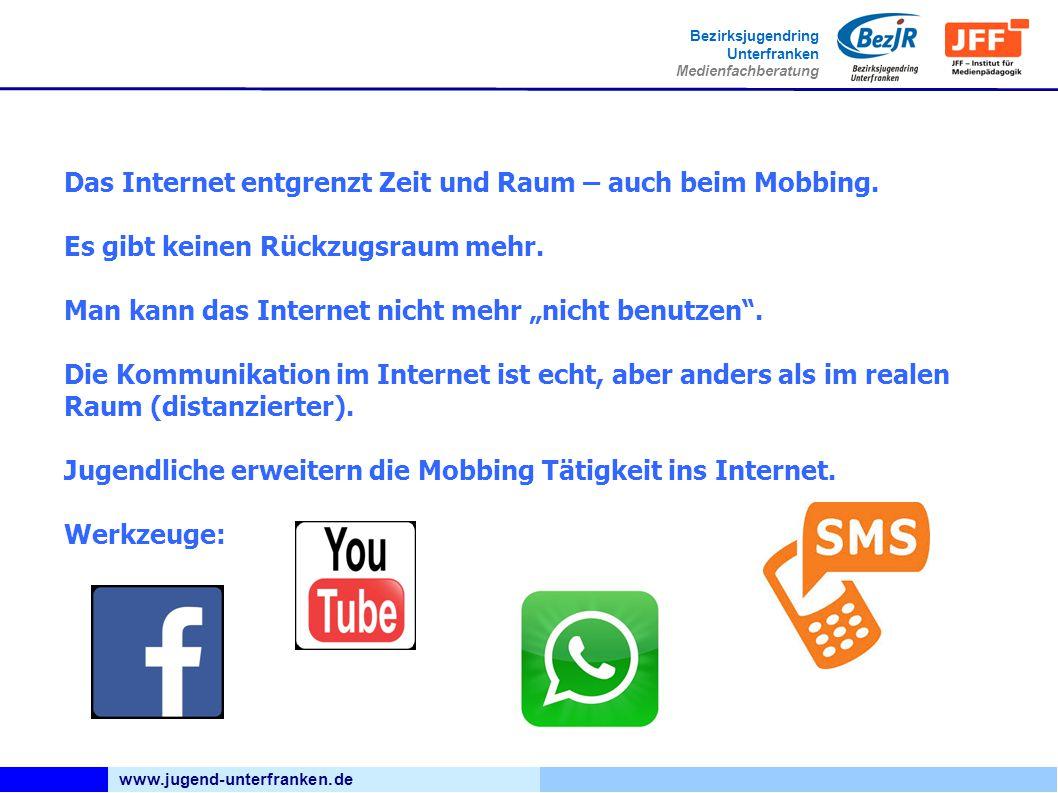 www.jugend-unterfranken.de Bezirksjugendring Unterfranken Medienfachberatung Das Internet entgrenzt Zeit und Raum – auch beim Mobbing. Es gibt keinen