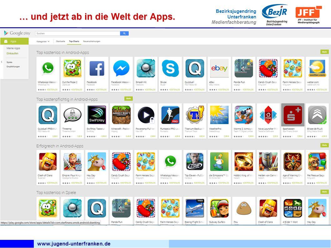 www.jugend-unterfranken.de Bezirksjugendring Unterfranken Medienfachberatung … und jetzt ab in die Welt der Apps.