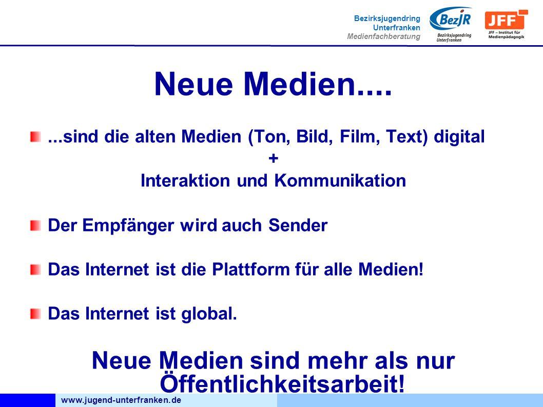 www.jugend-unterfranken.de Bezirksjugendring Unterfranken Medienfachberatung Neue Medien.......sind die alten Medien (Ton, Bild, Film, Text) digital + Interaktion und Kommunikation Der Empfänger wird auch Sender Das Internet ist die Plattform für alle Medien.