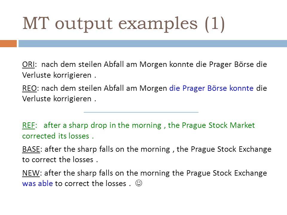MT output examples (1) ORI: nach dem steilen Abfall am Morgen konnte die Prager Börse die Verluste korrigieren.