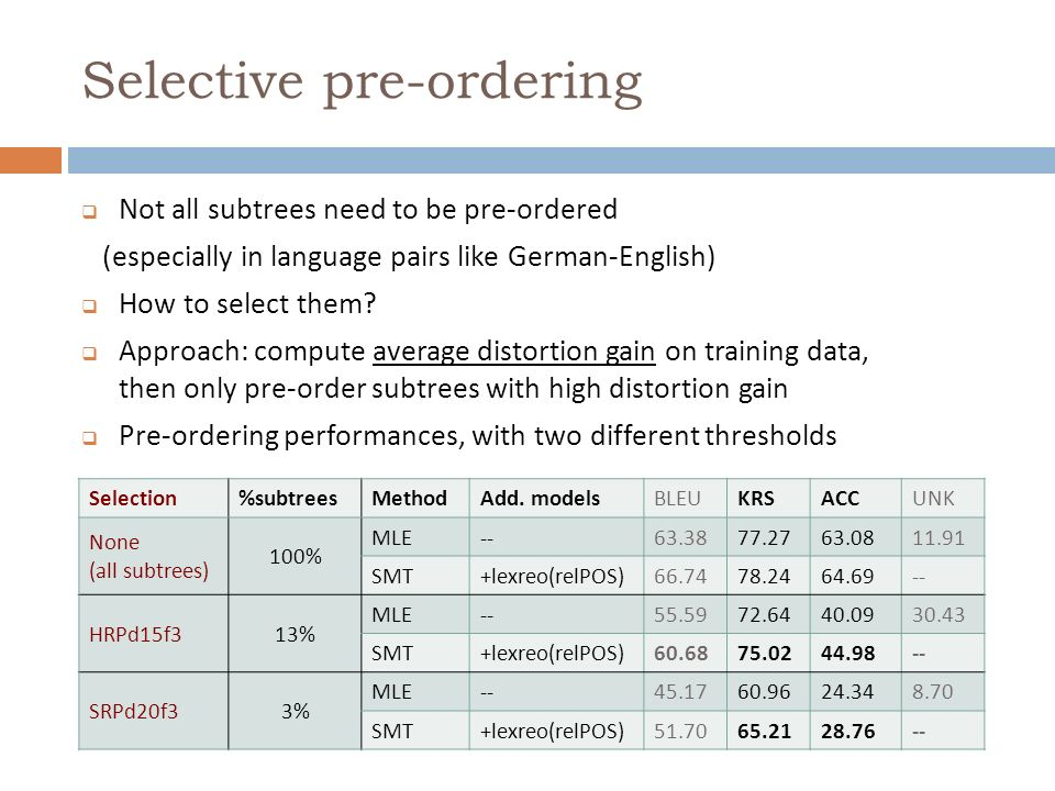 Selective pre-ordering Not all subtrees need to be pre-ordered (especially in language pairs like German-English) How to select them? Approach: comput