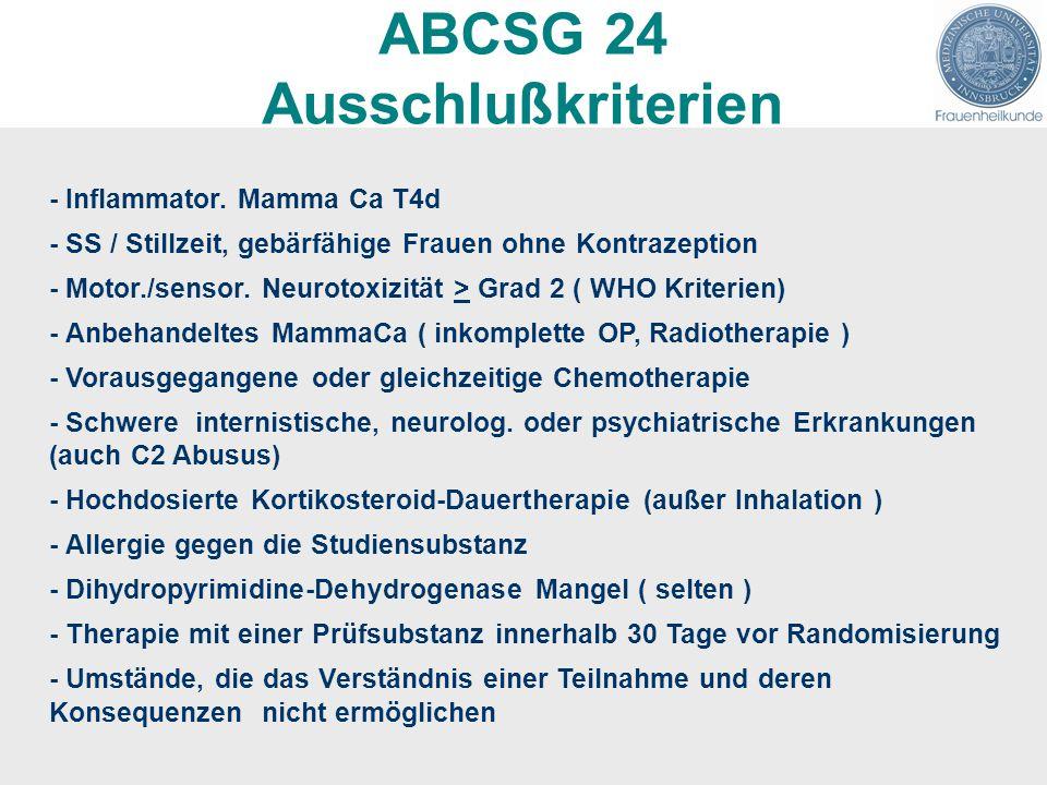 ABCSG 24 Ausschlußkriterien - Inflammator. Mamma Ca T4d - SS / Stillzeit, gebärfähige Frauen ohne Kontrazeption - Motor./sensor. Neurotoxizität > Grad