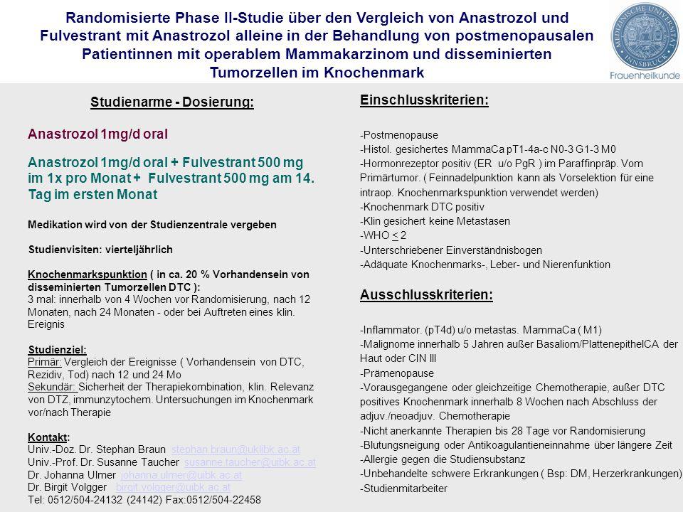 Randomisierte Phase II-Studie über den Vergleich von Anastrozol und Fulvestrant mit Anastrozol alleine in der Behandlung von postmenopausalen Patientinnen mit operablem Mammakarzinom und disseminierten Tumorzellen im Knochenmark Studienarme - Dosierung: Anastrozol 1mg/d oral Anastrozol 1mg/d oral + Fulvestrant 500 mg im 1x pro Monat + Fulvestrant 500 mg am 14.