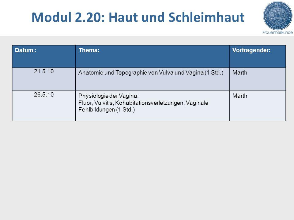 Modul 2.20: Haut und Schleimhaut Datum :Thema:Vortragender: 21.5.10 Anatomie und Topographie von Vulva und Vagina (1 Std.)Marth 26.5.10 Physiologie de