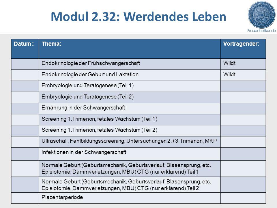 Modul 2.32: Werdendes Leben Datum :Thema:Vortragender: Endokrinologie der FrühschwangerschaftWildt Endokrinologie der Geburt und LaktationWildt Embryo