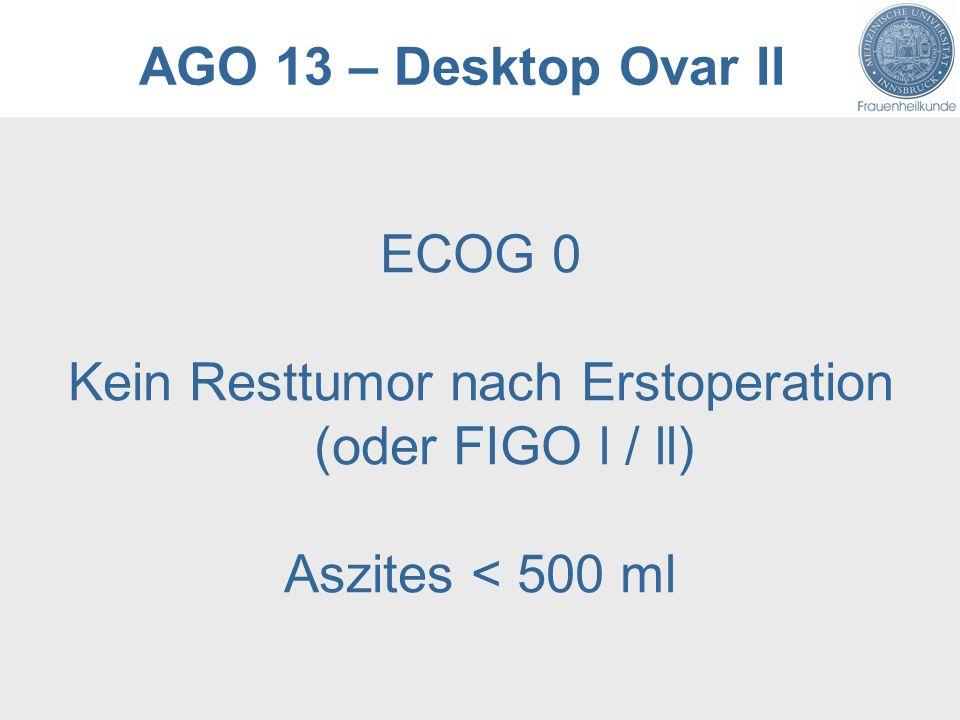 AGO 13 – Desktop Ovar II ECOG 0 Kein Resttumor nach Erstoperation (oder FIGO l / ll) Aszites < 500 ml