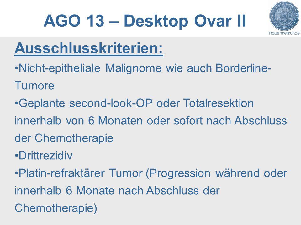 AGO 13 – Desktop Ovar II Ausschlusskriterien: Nicht-epitheliale Malignome wie auch Borderline- Tumore Geplante second-look-OP oder Totalresektion innerhalb von 6 Monaten oder sofort nach Abschluss der Chemotherapie Drittrezidiv Platin-refraktärer Tumor (Progression während oder innerhalb 6 Monate nach Abschluss der Chemotherapie)