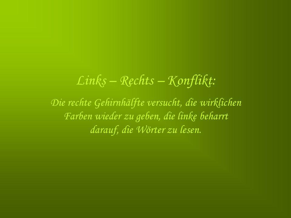 Links – Rechts – Konflikt: Die rechte Gehirnhälfte versucht, die wirklichen Farben wieder zu geben, die linke beharrt darauf, die Wörter zu lesen.