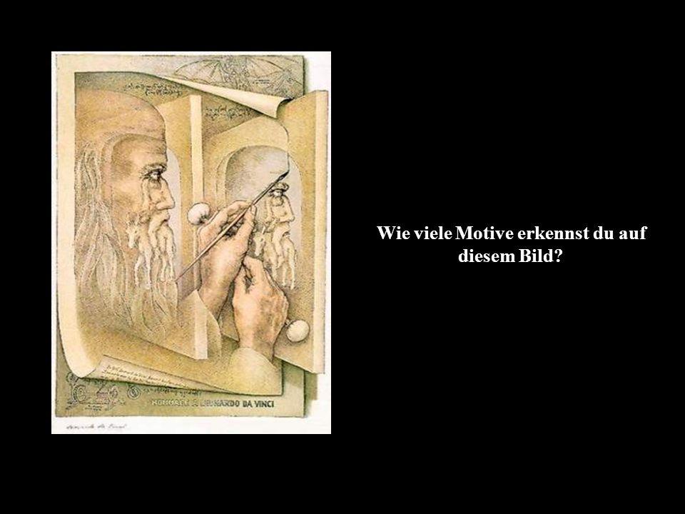 Du solltest zwei Motive erkennen: Den alten Mann und eine gemalte Person auf einem Esel (Oder siehst du es doppelt.