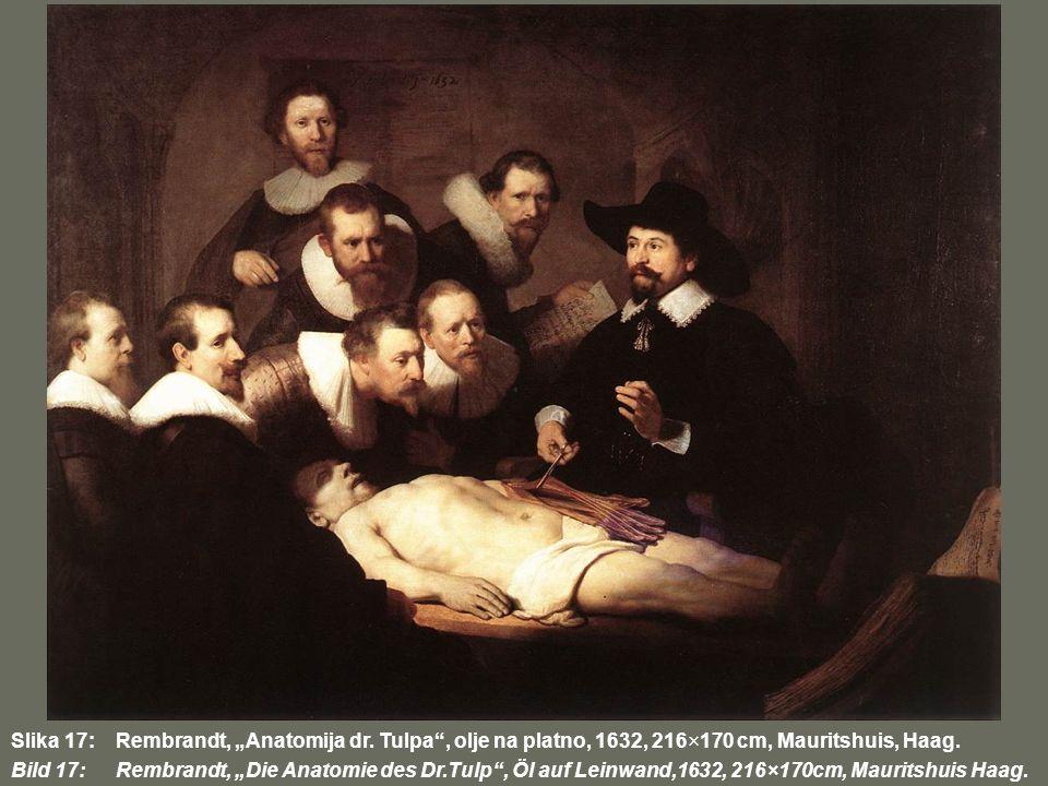 Slika 17:Rembrandt, Anatomija dr. Tulpa, olje na platno, 1632, 216×170 cm, Mauritshuis, Haag. Bild 17:Rembrandt, Die Anatomie des Dr.Tulp, Öl auf Lein
