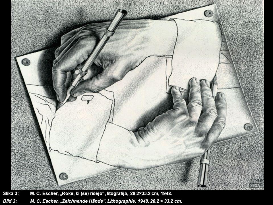 Slika 3: M. C. Escher, Roke, ki (se) rišejo, litografija, 28.2×33.2 cm, 1948. Bild 3:M. C. Escher, Zeichnende Hände, Lithographie, 1948, 28.2 × 33.2 c