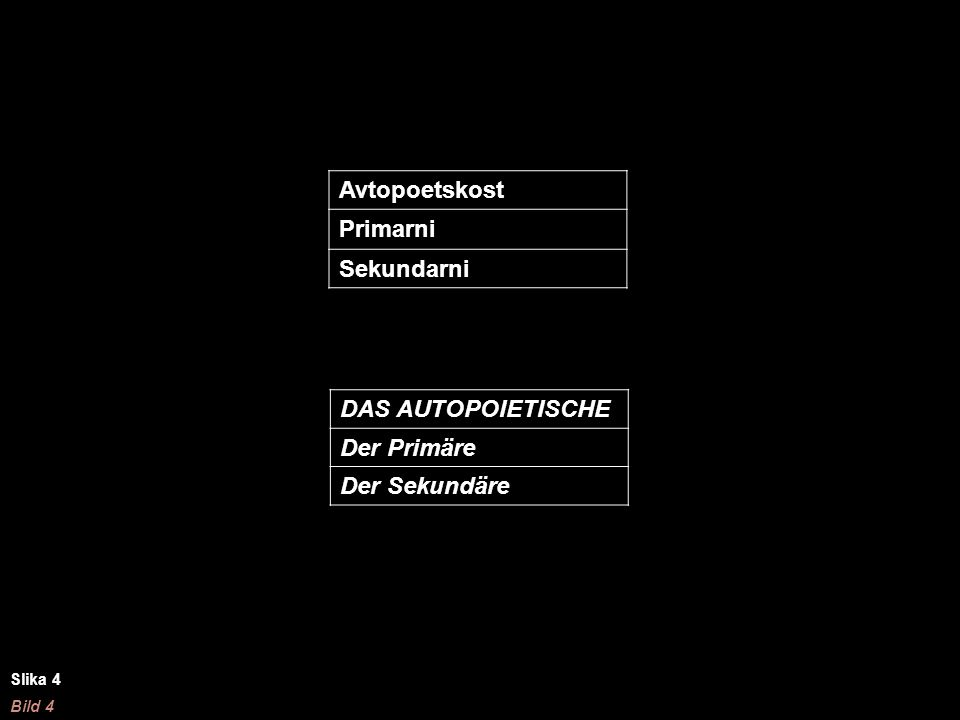 Avtopoetskost Primarni Sekundarni DAS AUTOPOIETISCHE Der Primäre Der Sekundäre Slika 4 Bild 4