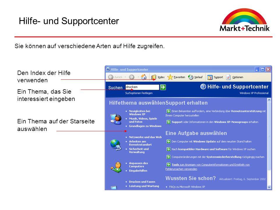 Hilfe- und Supportcenter Sie können auf verschiedene Arten auf Hilfe zugreifen. Den Index der Hilfe verwenden Ein Thema, das Sie interessiert eingeben
