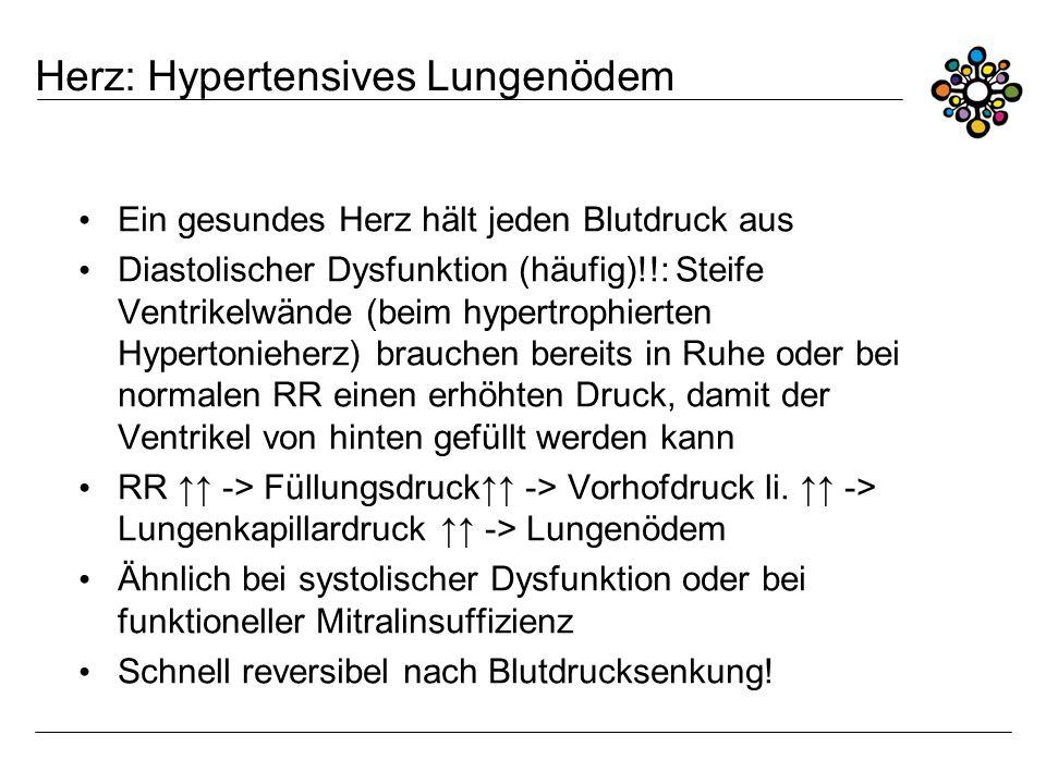 Herz: Hypertensives Lungenödem Ein gesundes Herz hält jeden Blutdruck aus Diastolischer Dysfunktion (häufig)!!: Steife Ventrikelwände (beim hypertroph
