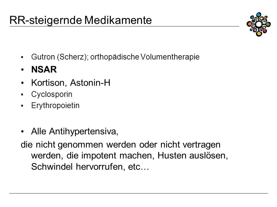 RR-steigernde Medikamente Gutron (Scherz); orthopädische Volumentherapie NSAR Kortison, Astonin-H Cyclosporin Erythropoietin Alle Antihypertensiva, di