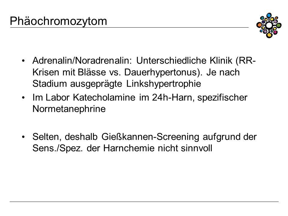 Phäochromozytom Adrenalin/Noradrenalin: Unterschiedliche Klinik (RR- Krisen mit Blässe vs. Dauerhypertonus). Je nach Stadium ausgeprägte Linkshypertro
