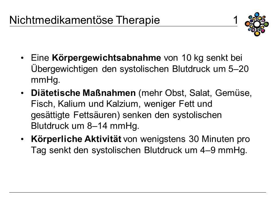 Nichtmedikamentöse Therapie 1 Eine Körpergewichtsabnahme von 10 kg senkt bei Übergewichtigen den systolischen Blutdruck um 5–20 mmHg. Diätetische Maßn