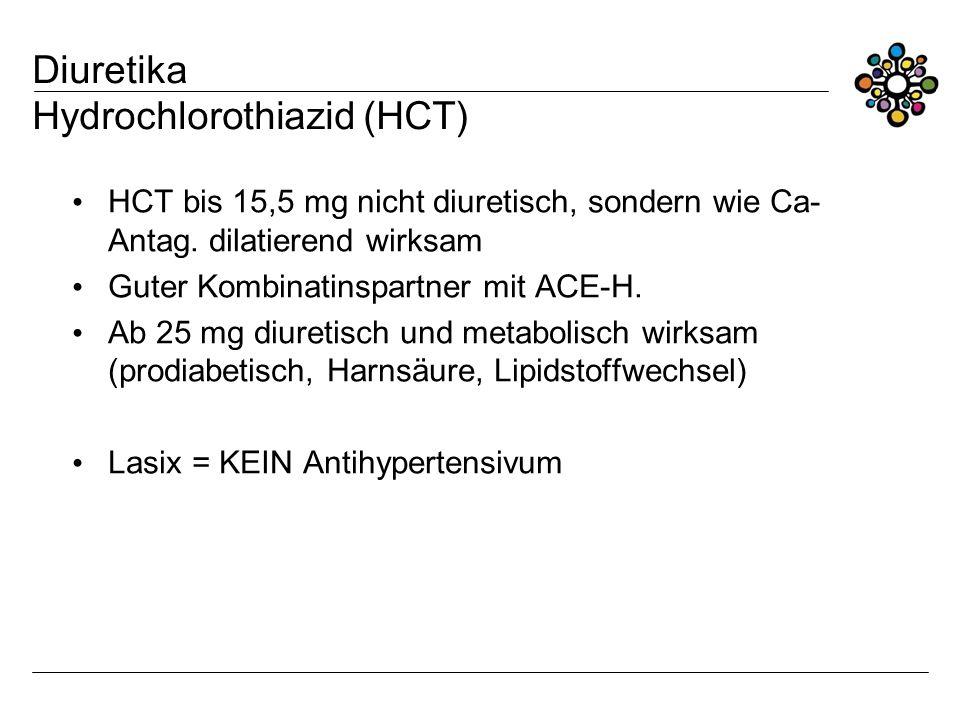 Diuretika Hydrochlorothiazid (HCT) HCT bis 15,5 mg nicht diuretisch, sondern wie Ca- Antag. dilatierend wirksam Guter Kombinatinspartner mit ACE-H. Ab