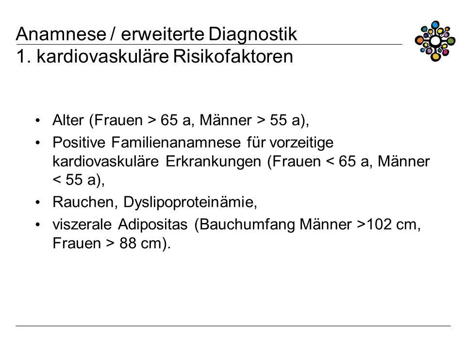 Anamnese / erweiterte Diagnostik 1. kardiovaskuläre Risikofaktoren Alter (Frauen > 65 a, Männer > 55 a), Positive Familienanamnese für vorzeitige kard