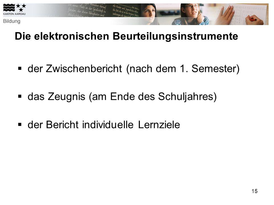 15 Die elektronischen Beurteilungsinstrumente der Zwischenbericht (nach dem 1.