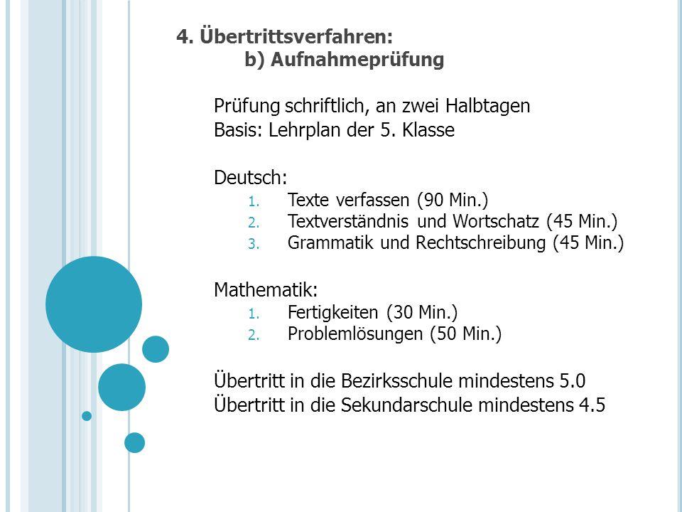 4. Übertrittsverfahren: b) Aufnahmeprüfung Prüfung schriftlich, an zwei Halbtagen Basis: Lehrplan der 5. Klasse Deutsch: 1. Texte verfassen (90 Min.)