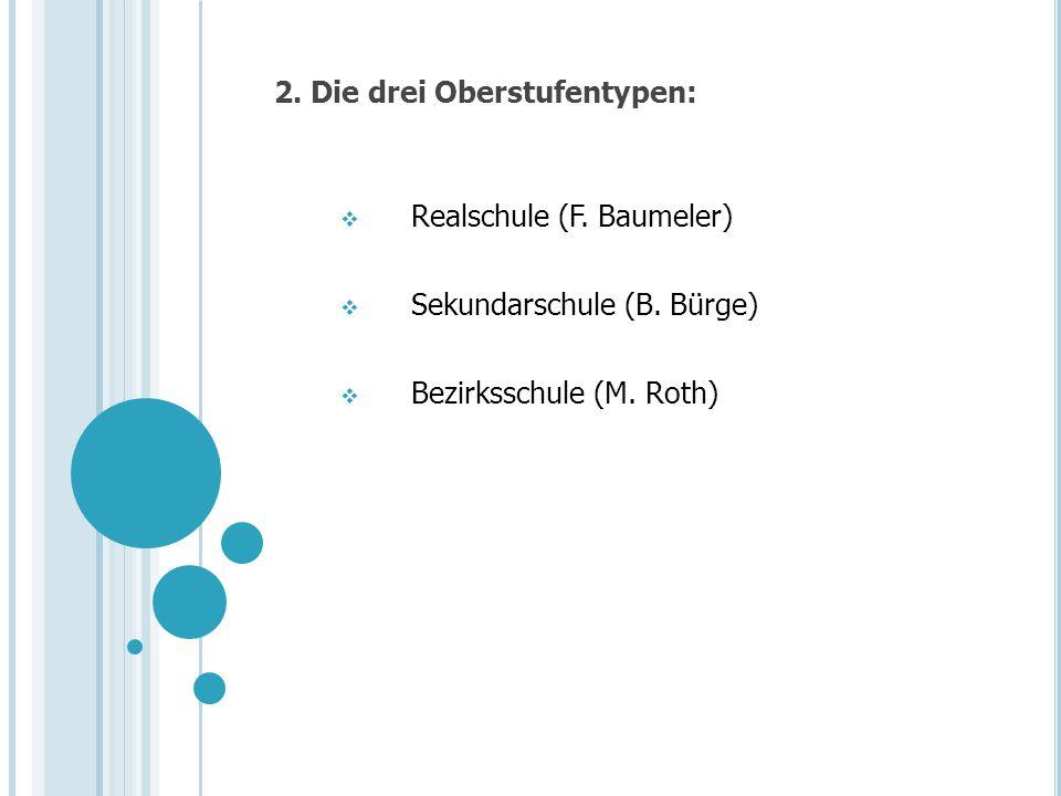2. Die drei Oberstufentypen: Realschule (F. Baumeler) Sekundarschule (B. Bürge) Bezirksschule (M. Roth)