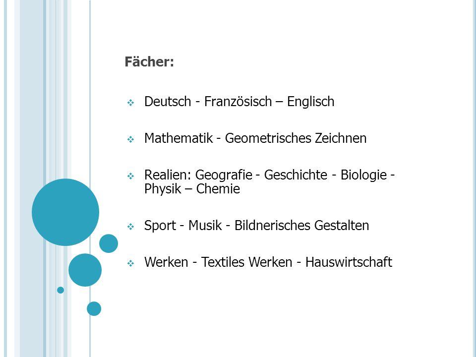 Fächer: Deutsch - Französisch – Englisch Mathematik - Geometrisches Zeichnen Realien: Geografie - Geschichte - Biologie - Physik – Chemie Sport - Musi
