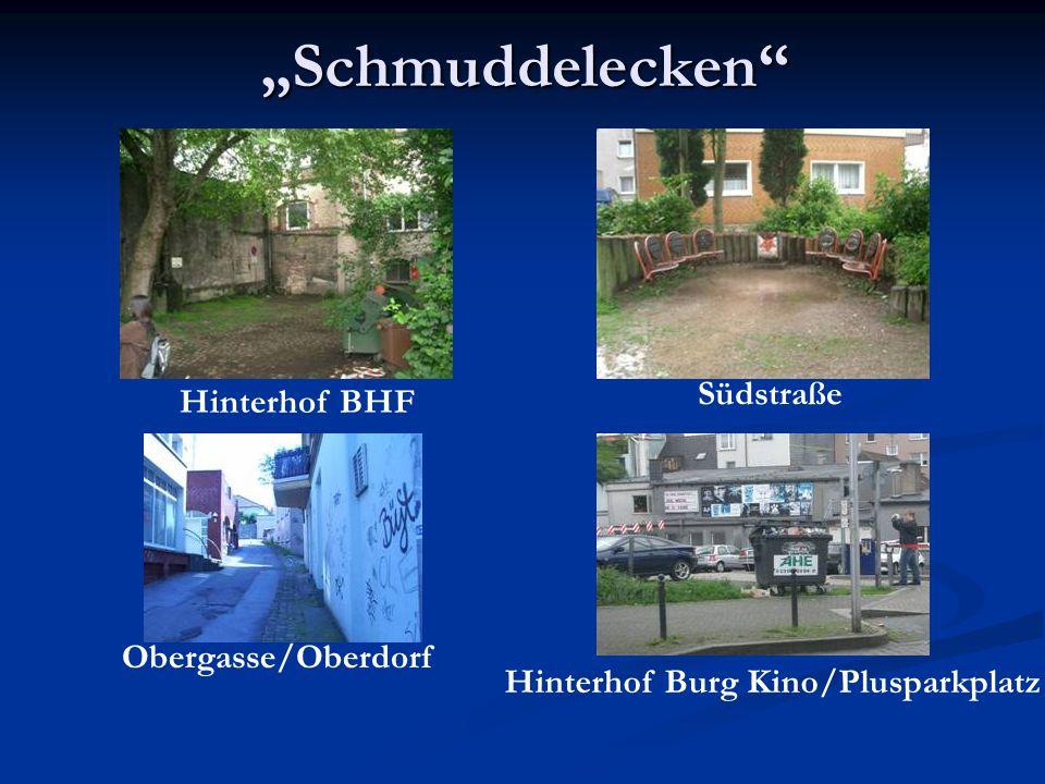 Schmuddelecken Südstraße Hinterhof BHF Obergasse/Oberdorf Hinterhof Burg Kino/Plusparkplatz