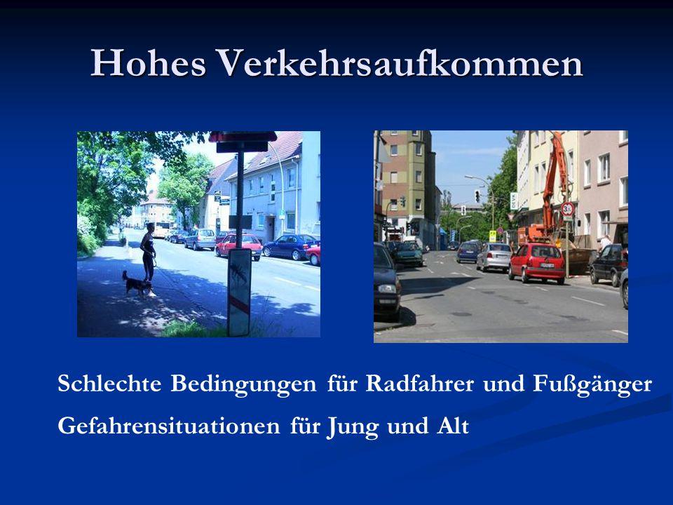 Hohes Verkehrsaufkommen Schlechte Bedingungen für Radfahrer und Fußgänger Gefahrensituationen für Jung und Alt