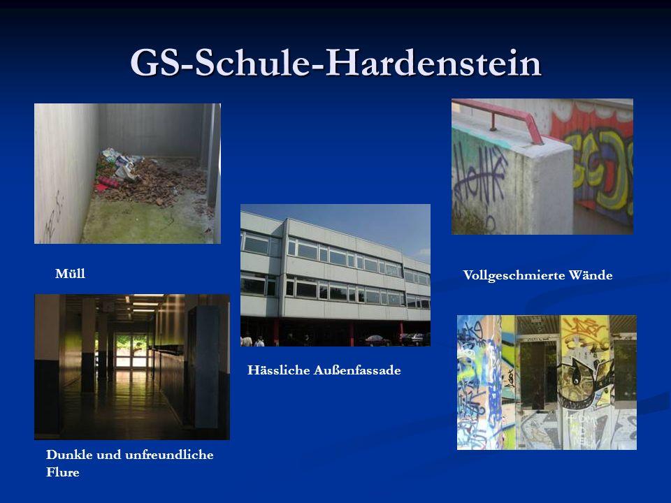 GS-Schule-Hardenstein Müll Hässliche Außenfassade Dunkle und unfreundliche Flure Vollgeschmierte Wände