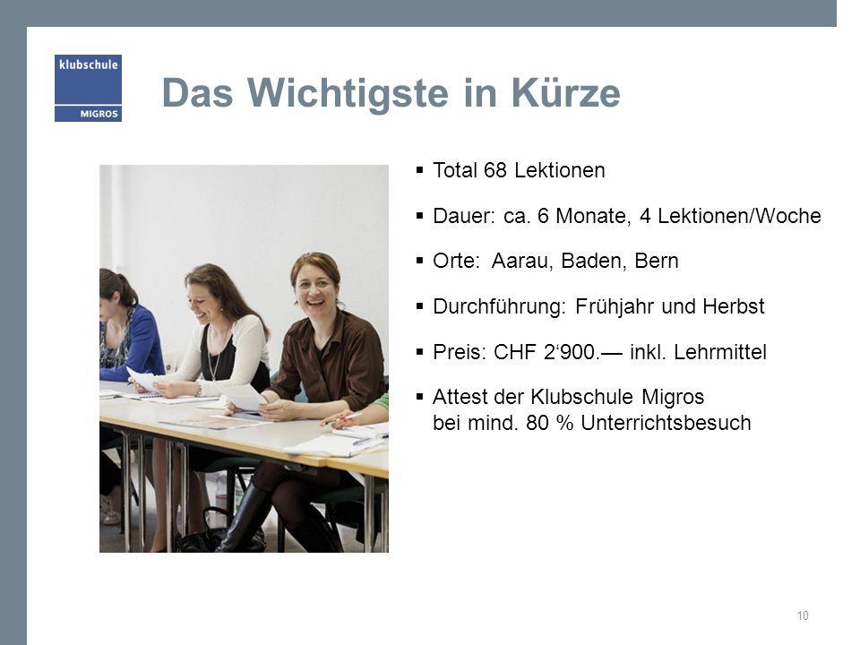 Das Wichtigste in Kürze Total 68 Lektionen Dauer: ca. 6 Monate, 4 Lektionen/Woche Orte: Aarau, Baden, Bern Durchführung: Frühjahr und Herbst Preis: CH