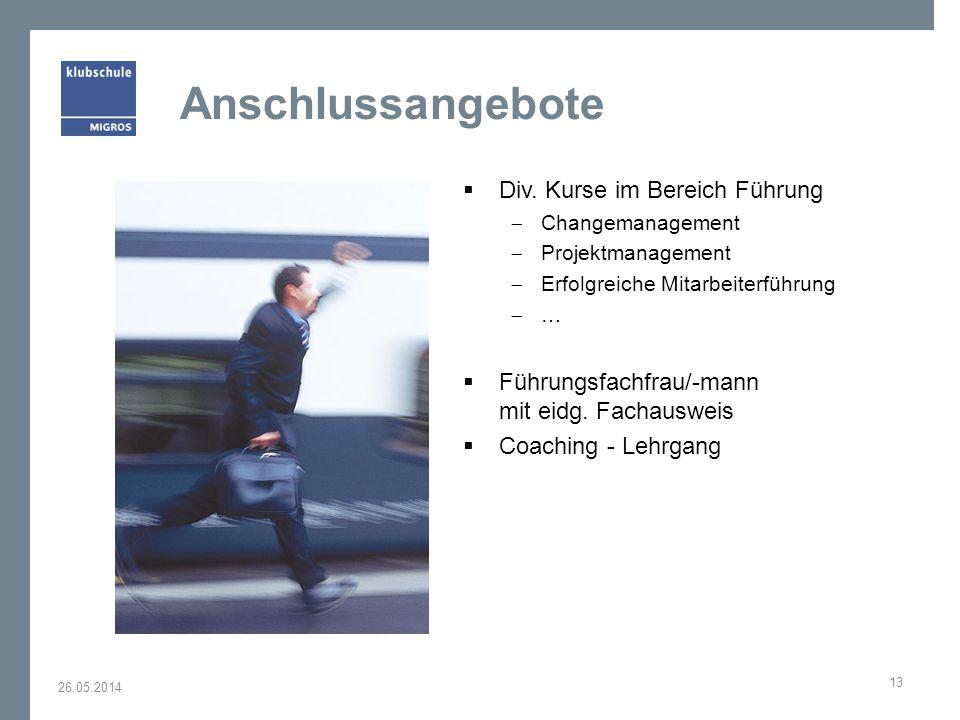 Anschlussangebote Div. Kurse im Bereich Führung Changemanagement Projektmanagement Erfolgreiche Mitarbeiterführung … Führungsfachfrau/-mann mit eidg.