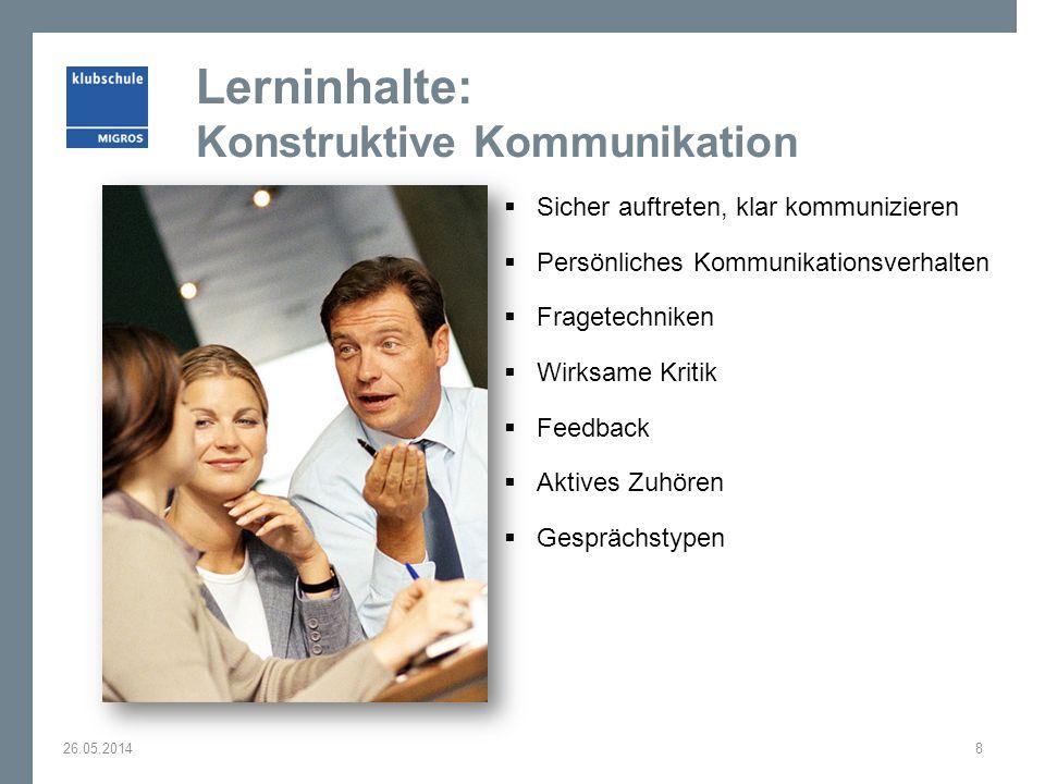 Lerninhalte: Konstruktive Kommunikation Sicher auftreten, klar kommunizieren Persönliches Kommunikationsverhalten Fragetechniken Wirksame Kritik Feedback Aktives Zuhören Gesprächstypen 26.05.20148