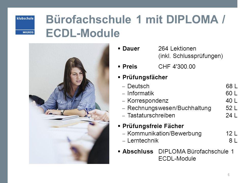 Bürofachschule 1 mit DIPLOMA / ECDL-Module Dauer 264 Lektionen (inkl. Schlussprüfungen) Preis CHF 4'300.00 Prüfungsfächer Deutsch68 L Informatik 60 L