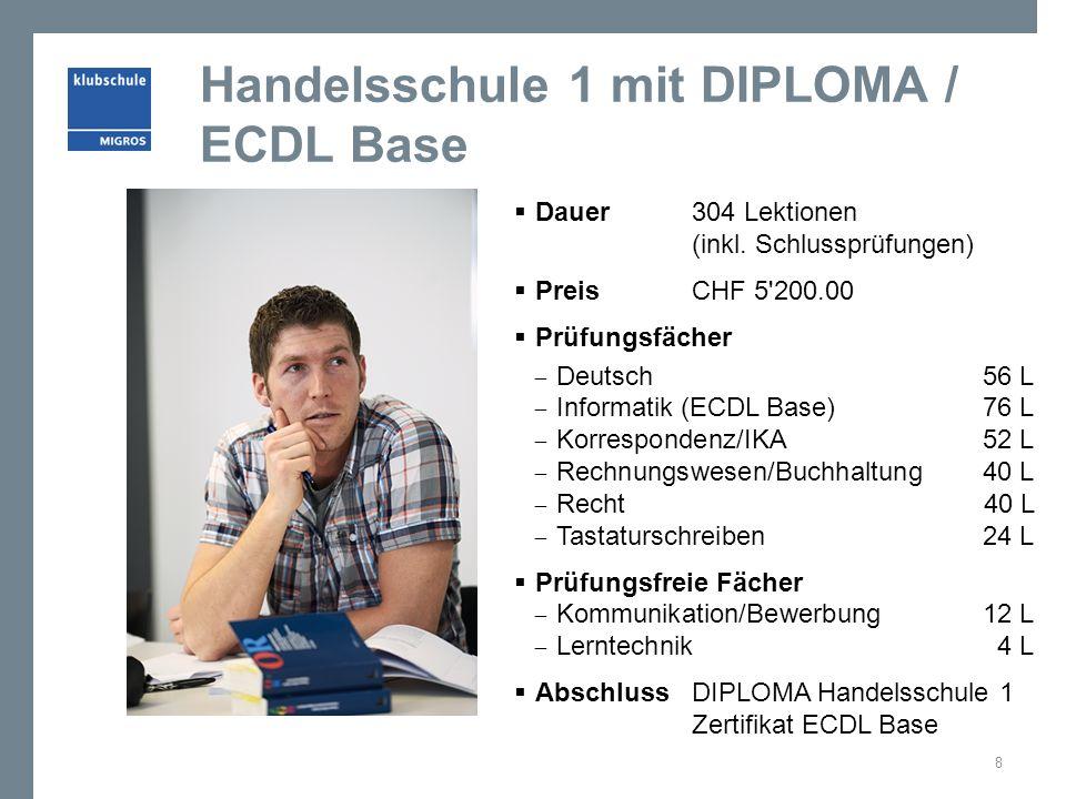 Handelsschule 1 mit DIPLOMA / ECDL Base Dauer 304 Lektionen (inkl. Schlussprüfungen) Preis CHF 5'200.00 Prüfungsfächer Deutsch 56 L Informatik (ECDL B