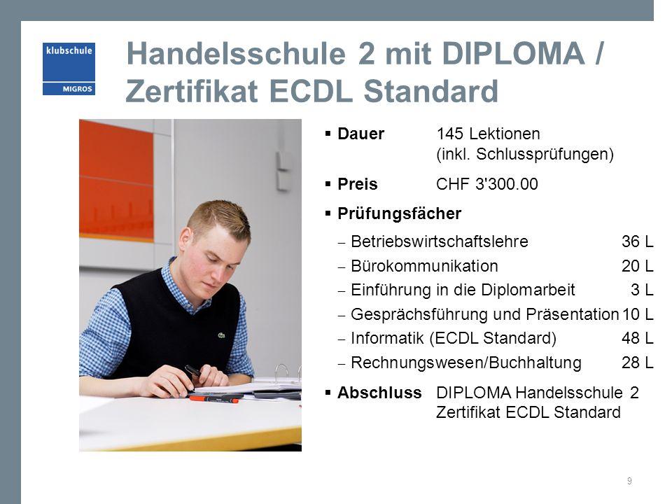 Handelsschule 2 mit DIPLOMA / Zertifikat ECDL Standard Dauer 145 Lektionen (inkl. Schlussprüfungen) Preis CHF 3'300.00 Prüfungsfächer Betriebswirtscha