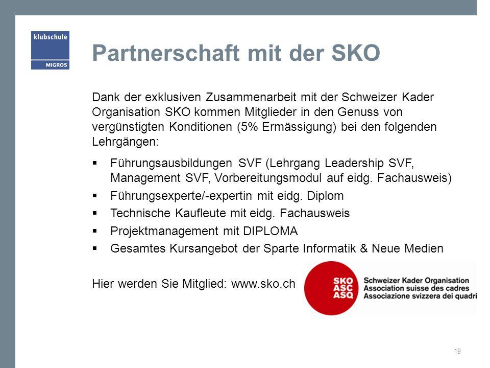 Partnerschaft mit der SKO Dank der exklusiven Zusammenarbeit mit der Schweizer Kader Organisation SKO kommen Mitglieder in den Genuss von vergünstigte