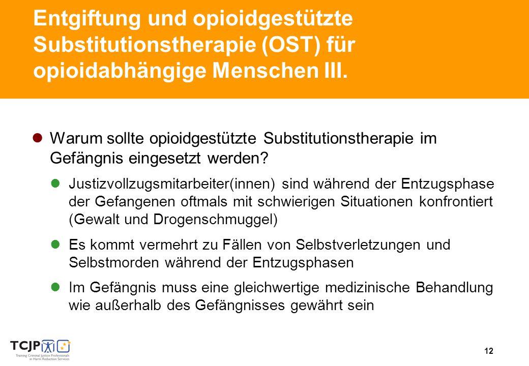 12 Entgiftung und opioidgestützte Substitutionstherapie (OST) für opioidabhängige Menschen III.