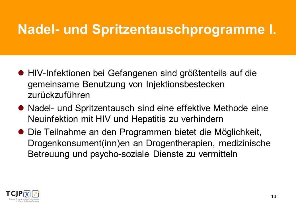 13 Nadel- und Spritzentauschprogramme I.