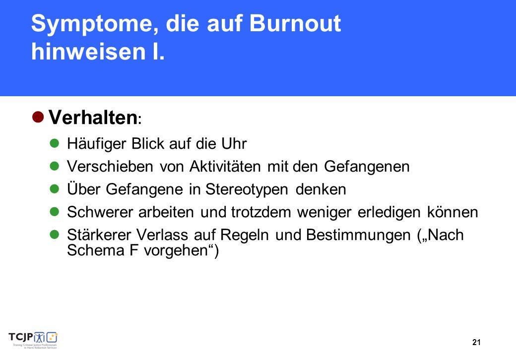 21 Symptome, die auf Burnout hinweisen I. Verhalten : Häufiger Blick auf die Uhr Verschieben von Aktivitäten mit den Gefangenen Über Gefangene in Ster
