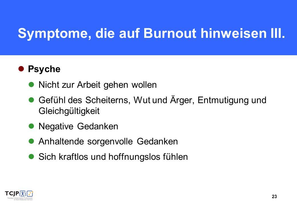 23 Symptome, die auf Burnout hinweisen III. Psyche Nicht zur Arbeit gehen wollen Gefühl des Scheiterns, Wut und Ärger, Entmutigung und Gleichgültigkei