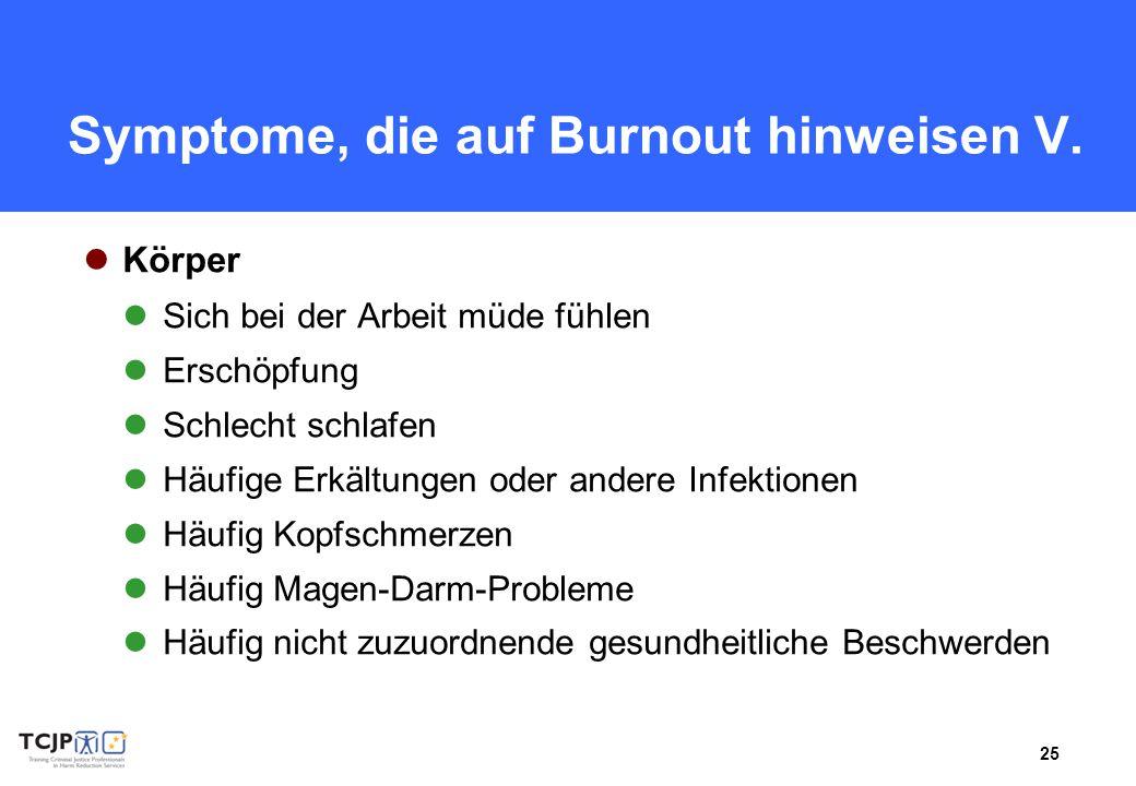 25 Symptome, die auf Burnout hinweisen V. Körper Sich bei der Arbeit müde fühlen Erschöpfung Schlecht schlafen Häufige Erkältungen oder andere Infekti