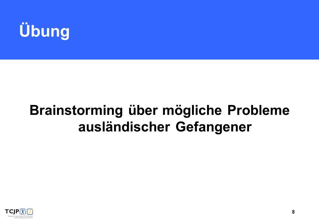 8 Übung Brainstorming über mögliche Probleme ausländischer Gefangener